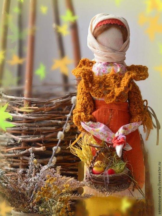Народные куклы ручной работы. Ярмарка Мастеров - ручная работа. Купить Куколка - мотанка Жница. Handmade. Оранжевый, осенние краски