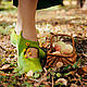 """Обувь ручной работы. Ярмарка Мастеров - ручная работа. Купить Валяные туфельки """"Осенняя свежесть"""". Handmade. Зеленый, Овечья шерсть"""