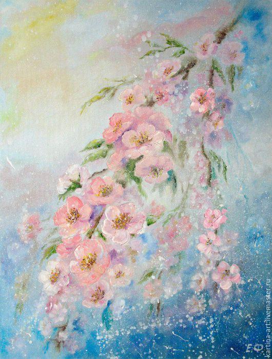 Картины цветов ручной работы. Ярмарка Мастеров - ручная работа. Купить Цветущая веточка. Handmade. Розовый, цветы, подарок