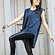 R00009 Топ из льна летний топ туника летняя туника модная одежда свободная одежда