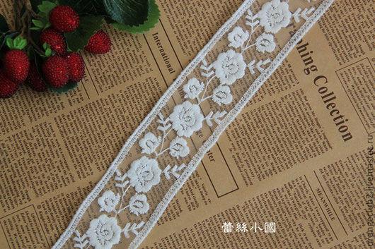 Шитье ручной работы. Ярмарка Мастеров - ручная работа. Купить Кружево молочное розы дорожка  50 мм. Handmade. Белый