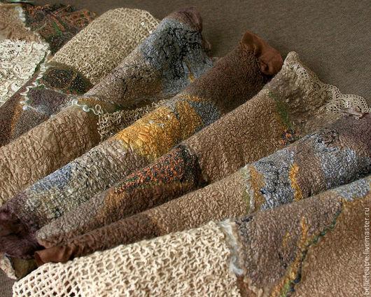 """Шали, палантины ручной работы. Ярмарка Мастеров - ручная работа. Купить Валяный шарф-палантин """"Shades of brown"""". Handmade."""