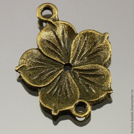 Металлическая подвеска коннектор Цветок из сплава с покрытием античная бронза для использования в сборке украшений