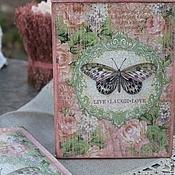 Для дома и интерьера ручной работы. Ярмарка Мастеров - ручная работа комплект короб и вешалка розово-зеленые  бабочки пионы. Handmade.