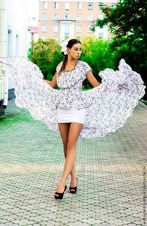 Платья ручной работы. Ярмарка Мастеров - ручная работа. Купить Платье. Handmade. Чёрно-белый, платье в пол, рюши