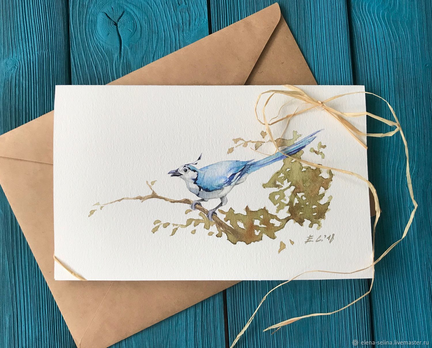 Пожелания счастья, рисованная открытка ручной работы