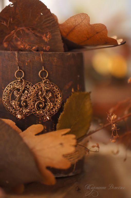 """Серьги ручной работы. Ярмарка Мастеров - ручная работа. Купить Серьги """"Осенний вальс"""". Handmade. Коричневый, осенние украшения"""