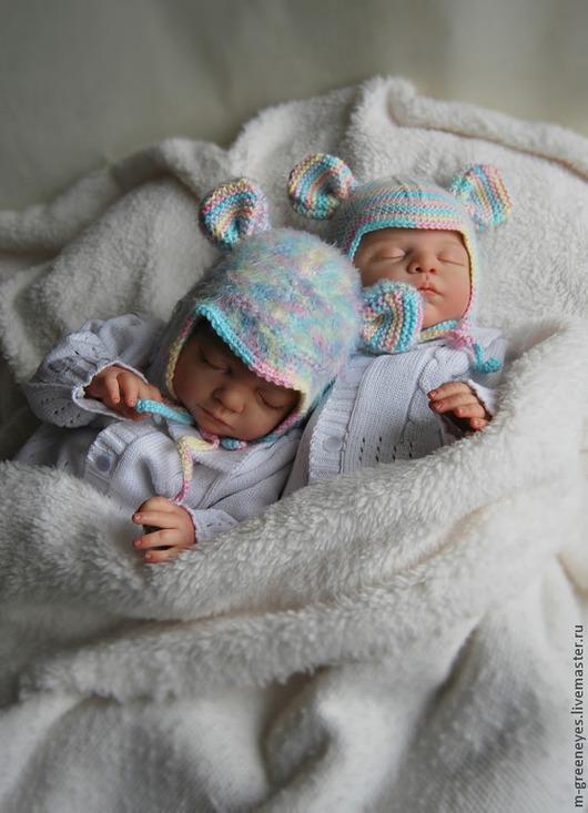 """Для новорожденных, ручной работы. Ярмарка Мастеров - ручная работа. Купить Комплект шапок """"Радужный мышонок"""". Handmade. Шапка"""