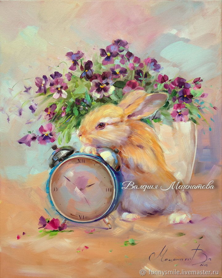 Oil painting on canvas. Time rabbits. Pansy. Rabbit, Pictures, Moscow, Фото №1