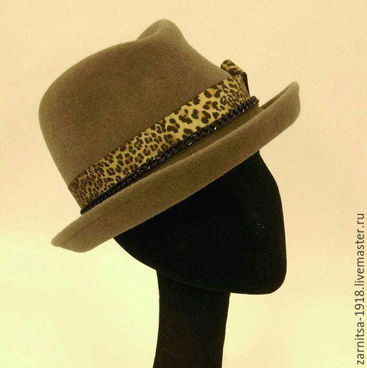 """Шляпы ручной работы. Ярмарка Мастеров - ручная работа. Купить Велюровый шляпка """"Хомбург"""". Handmade. Коричневый, дизайнерские шляпки"""
