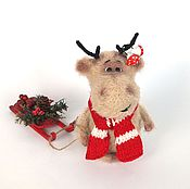 Куклы и игрушки ручной работы. Ярмарка Мастеров - ручная работа Лось новогодний  Аркаша (Новый год, подарок, игрушка). Handmade.