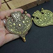Материалы для творчества handmade. Livemaster - original item Ethnic Metal Antique Gold Pendant 71h60mm. Handmade.