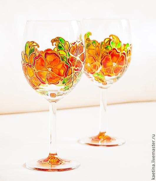 Бокалы, стаканы ручной работы. Ярмарка Мастеров - ручная работа. Купить Осеннее настроение - 2 шт. Handmade. Рыжий, белый