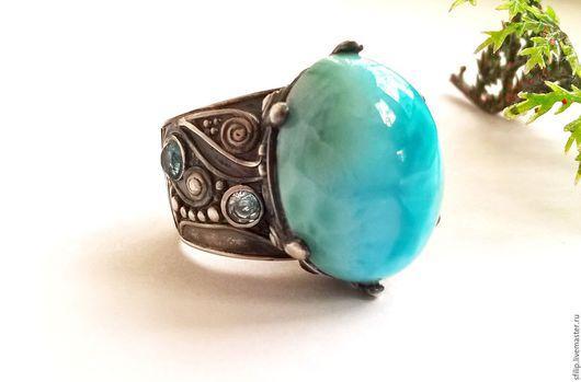 """Кольца ручной работы. Ярмарка Мастеров - ручная работа. Купить Кольцо""""Boheme-II"""" - ларимар,Sky blue топаз,серебро 925. Handmade."""