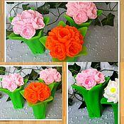 """3D форма силиконовая """"Букет тюльпанов с листьями - 2"""" (2 формы)"""