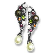 """Украшения handmade. Livemaster - original item Серьги """"Венеция"""" из серебра 925, с сапфирами и турмалинами, жемчугом. Handmade."""