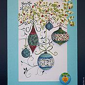 """Открытки ручной работы. Ярмарка Мастеров - ручная работа Открытка """"Новогодние шары"""". Handmade."""