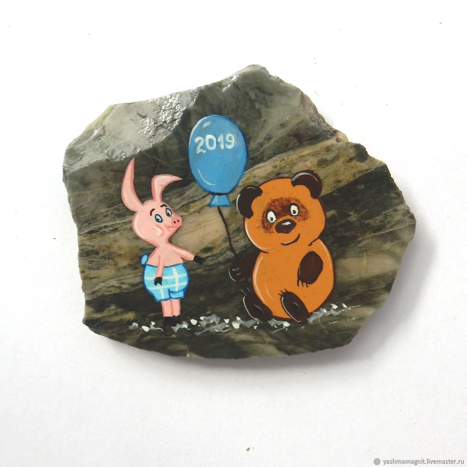 Winnie the Pooh and Piglet Magnet stone Jasper Souvenirs of Altai, Magnets, Zmeinogorsk,  Фото №1