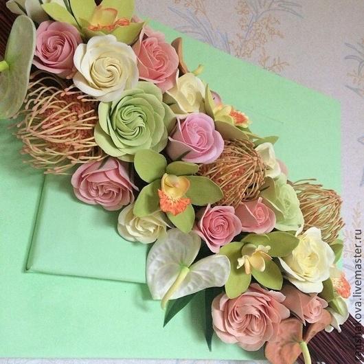 Картины цветов ручной работы. Ярмарка Мастеров - ручная работа. Купить Панно с тропическими цветами из полимерной глины. Handmade. Салатовый