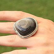 Украшения handmade. Livemaster - original item Lais ring with striped agate in 925 sterling silver SP0132. Handmade.