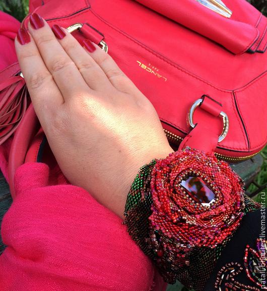 """Браслеты ручной работы. Ярмарка Мастеров - ручная работа. Купить Браслет бисерплетение """"Роза красная моя"""". Handmade. Красный"""