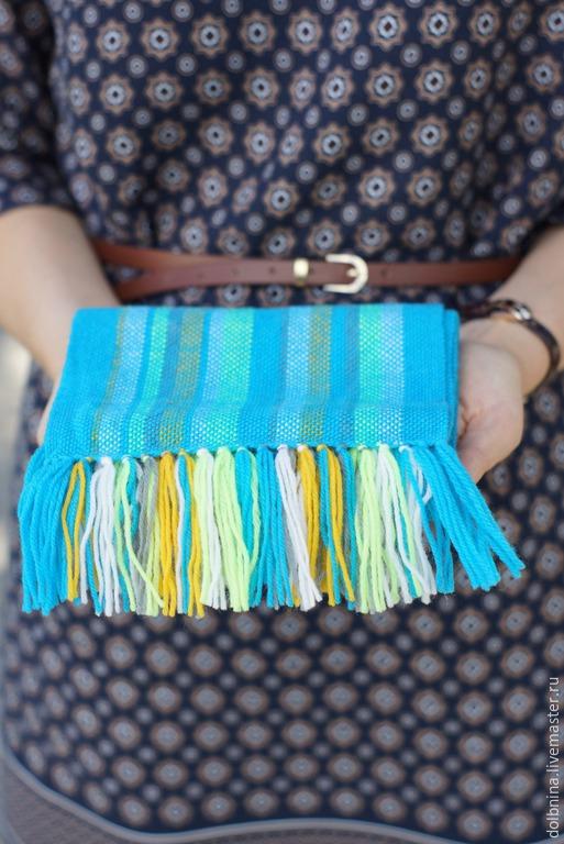 Шапки и шарфы ручной работы. Ярмарка Мастеров - ручная работа. Купить Детский домотканый шарф aque. Handmade. В полоску