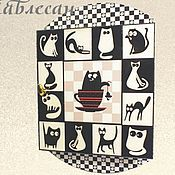 """Для дома и интерьера ручной работы. Ярмарка Мастеров - ручная работа Ключница шкафчик настенная  """"Черная кошка - белый кот"""" в прихожую. Handmade."""