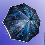 Аксессуары handmade. Livemaster - original item Folding umbrella blue with picture space custom Space