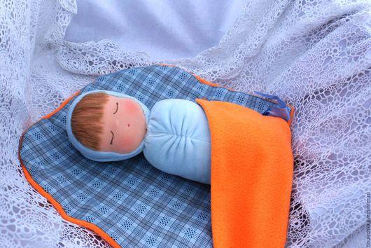 Вальдорфская игрушка ручной работы. Ярмарка Мастеров - ручная работа. Купить Спящая кукла Луша. Handmade. Голубой, текстильная кукла