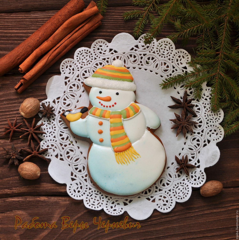 Снеговик пряничный с синичкой (15 см), Пряники, Москва, Фото №1