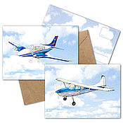 Открытки handmade. Livemaster - original item Airplanes in the clouds greeting Cards for the pilot Set of 2 PCs. Handmade.