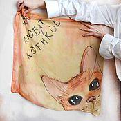 Платки ручной работы. Ярмарка Мастеров - ручная работа Платок Все любят котиков шелк батик желтый оранжевый кот котик. Handmade.