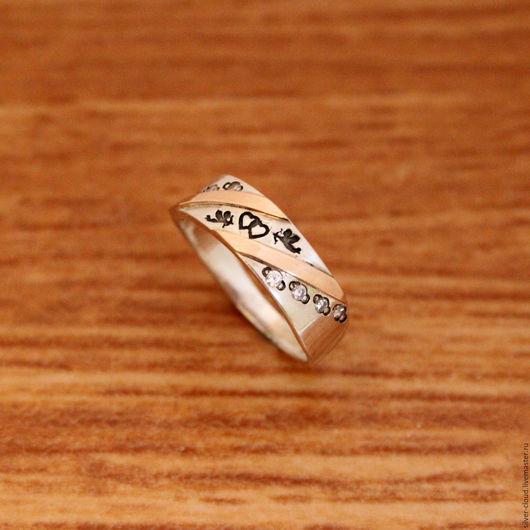 Кольца ручной работы. Ярмарка Мастеров - ручная работа. Купить Серебряное кольцо Купидон с золотыми накладками, серебро 925. Handmade.