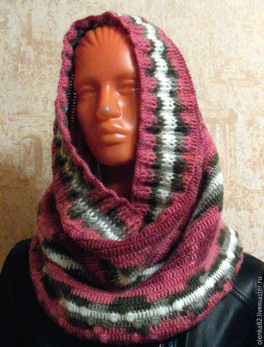 Снуд, шарф-труба, вязаный крючком. `Переливы`
