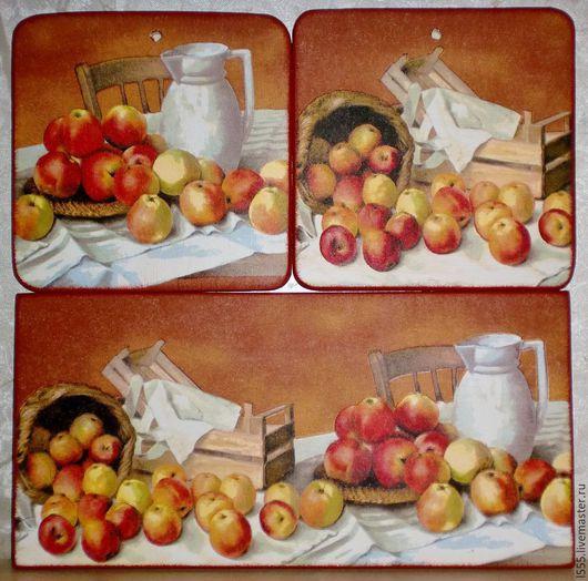 """Кухня ручной работы. Ярмарка Мастеров - ручная работа. Купить Разделочная доска панно """"Натюрморт с яблоками"""". Handmade. Разноцветный, панно"""
