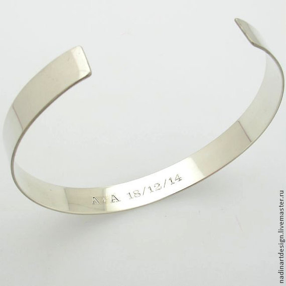 элегантный браслет из серебра инициалы украшение с гравировкой