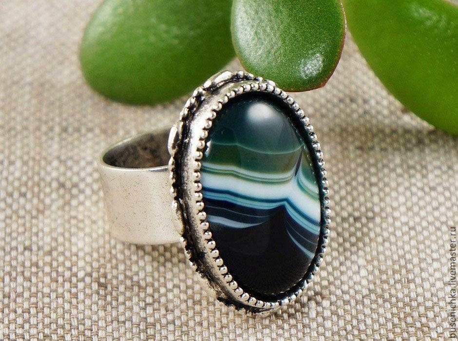 """Кольца ручной работы. Ярмарка Мастеров - ручная работа. Купить Кольцо Агат """"морской"""" (18х25мм). Handmade. Бирюзовый, кольцо, перстень"""