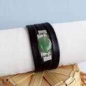 Украшения handmade. Livemaster - original item Bracelet with aventurine leather Black-green. Handmade.