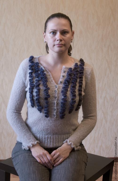 Кофты и свитера ручной работы. Ярмарка Мастеров - ручная работа. Купить джемпер Effie. Handmade. Разноцветный, альпака, вязаный топ