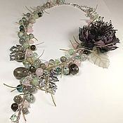 Украшения handmade. Livemaster - original item Whisper Of Morning Mist. Necklace, brooch fabric flower. kit.. Handmade.