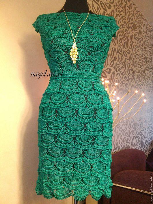 """Платья ручной работы. Ярмарка Мастеров - ручная работа. Купить НОВИНКА! Вязанное платье """"БЕЛИЗ"""" зеленое. Handmade. Коктейльное платье"""