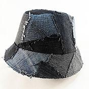 handmade. Livemaster - original item Black denim panama hat 54 -56 p. Handmade.