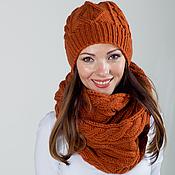 """Аксессуары ручной работы. Ярмарка Мастеров - ручная работа Комплект вязаный """"Терракот"""", шарф снуд вязаный и шапка вязаная. Handmade."""