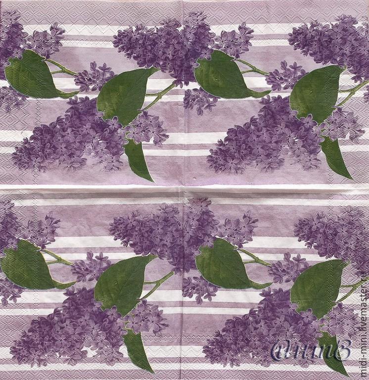 3pcs napkins for decoupage flowers lilac cottage garden print, Napkins for decoupage, Moscow,  Фото №1