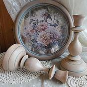 """Картины и панно ручной работы. Ярмарка Мастеров - ручная работа Комплект картина - панно  """"Хризантемы"""" с подсвечниками. Handmade."""