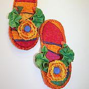 """Обувь ручной работы. Ярмарка Мастеров - ручная работа Валяные тапочки-сланцы """"Для знойных особ"""". Handmade."""