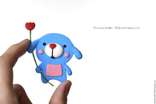 """Броши ручной работы. Ярмарка Мастеров - ручная работа. Купить Брошь """"Щенок с цветком"""". Брошь в подарок для девочки, девушки, ребенка. Handmade."""