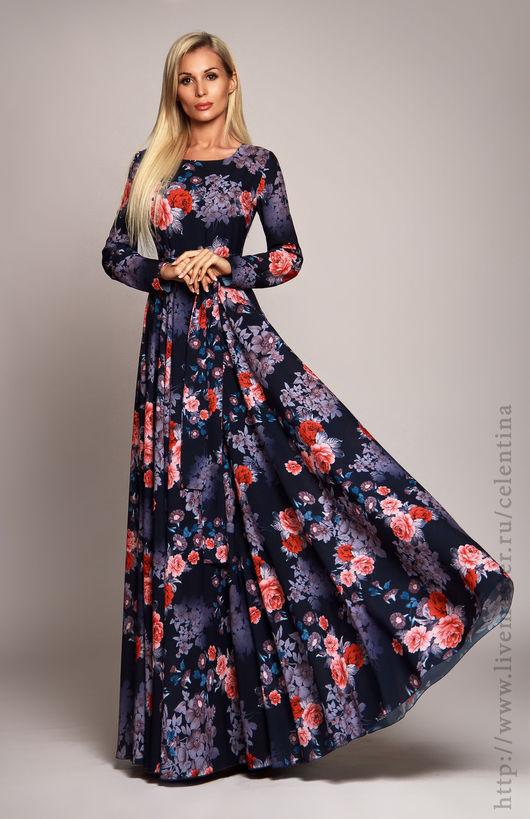 Летнее нарядное платье в пол. Платье с цветочным принтом из креп шифона