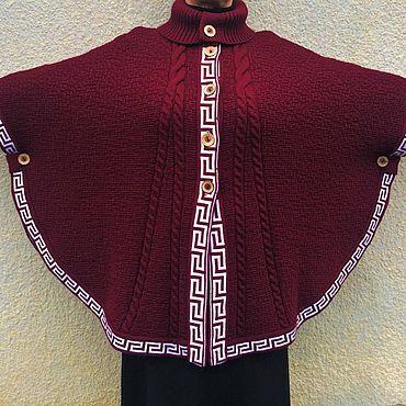 Одежда ручной работы. Ярмарка Мастеров - ручная работа Бордовое вязаное пончо с рукавами. Handmade.