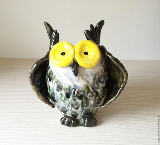 Колокольчики ручной работы. Ярмарка Мастеров - ручная работа. Купить Совушка ваза большая. Handmade. Серый, сова в подарок, совушка